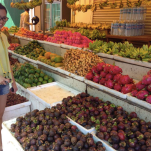Tropical fruits by the fruit stand