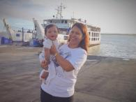 Riding the ferry at three months